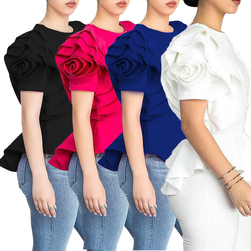 Women Summer Explosion Models Ruffle Trim Hem Short-Sleeve Top Rose Blue Black Flower Office Lady Work Wear High Waist Solid Top