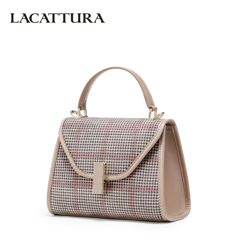 LACATTURA Women Small Wrist band Handbag Designer Shoulder Bags Classic Houndstooth Purse Crossbody for Ladies Messenger Bag chain houndstooth print crossbody bag