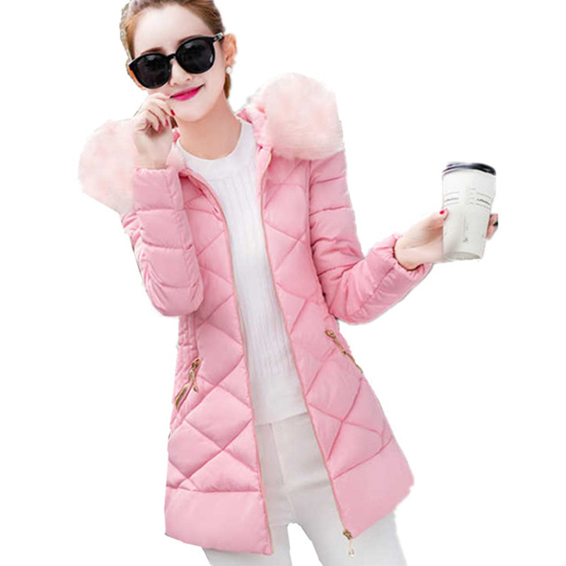 2017 Female Jacket Women Winter New Fashion Hooded Large Faux Fur Collar Warm Long Female Slim Coat Casual Pink Parkas RE0024 цены онлайн