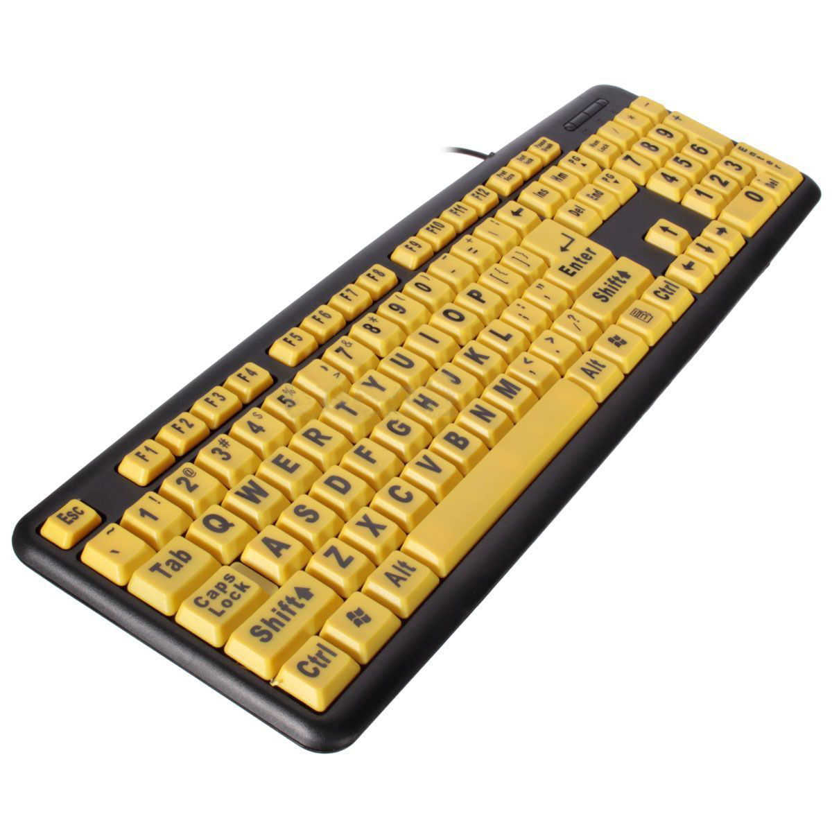 SODIAL USB Big letters Yellow button Elderly keyboard R