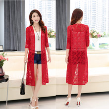 Spring and summer new women lace jacket female long section shawl cardigan large size long-sleeved sunscreen