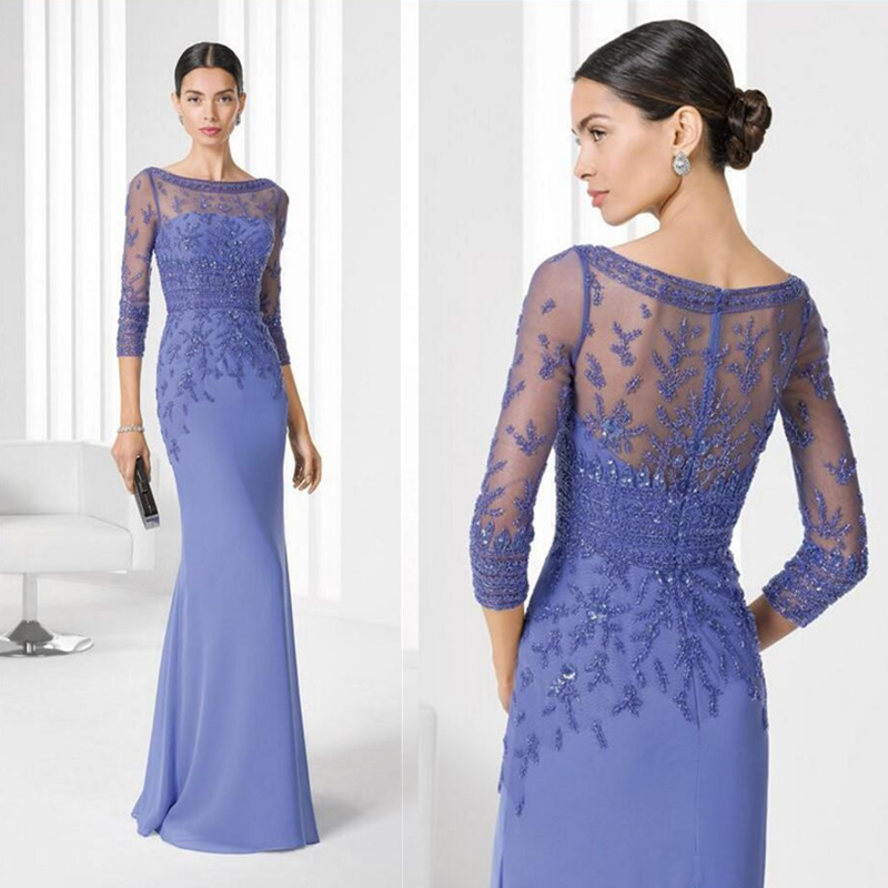 Robe Mere De La Mariee Lace Mother Of The Bride Dresses Long Sleeve Appliques Groom Godmother Evening Dresses For Wedding