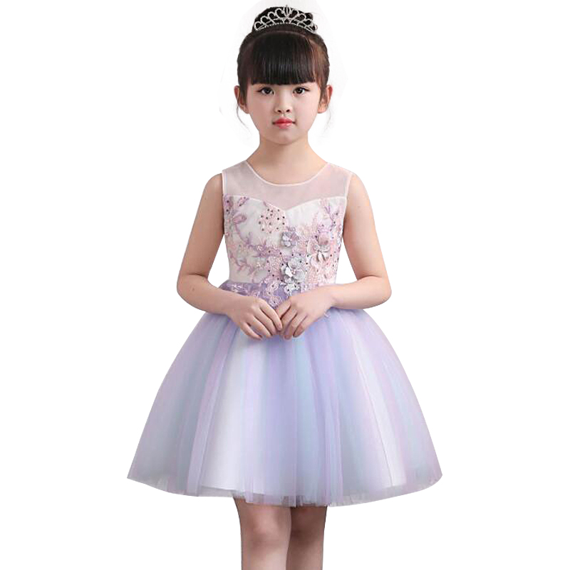 Flower Princess Dresses for Girls Clothes Tulle Childrens Costume For Kids Prom Gown Pag ...
