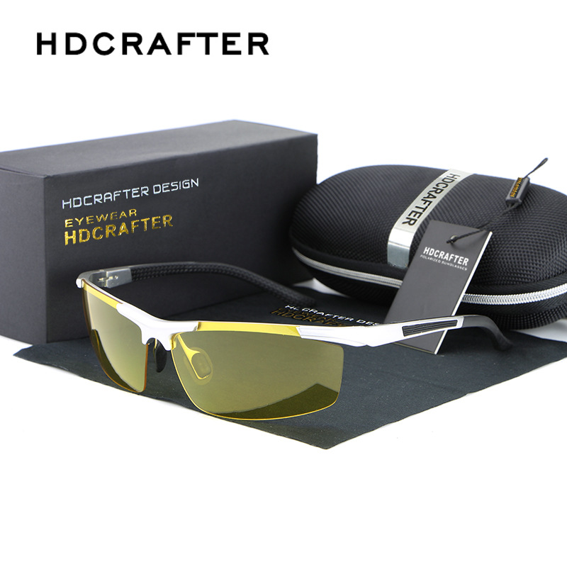 HDCRAFTER Men Polarized Aluminum-Magnesium Day Night Driver Sun Glasses New Top Quality Male Goggles Sunglasses Night Vision