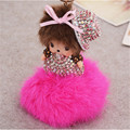2016 New Year Gift Cute Monchichi Fluffy  Rabbit Fur Pom Pom Key Chain For Car Key Ring Bag Pendant Fur Ball Keychain