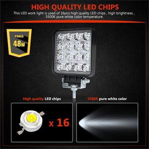 Image 2 - RACBOX 4 אינץ 48W כיכר LED עבודה אור גבוהה כוח זרקור הארה עבור 4x4 Offroad טרקטורונים UTV משאית טרקטור אופנוע אורות