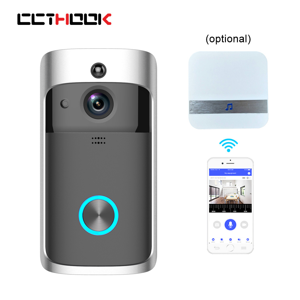 Smart Wireless Doorbell Camera WIFI Door Bell Video Intercom with Night Vision IR Motion Detection Alarm Security with Battery