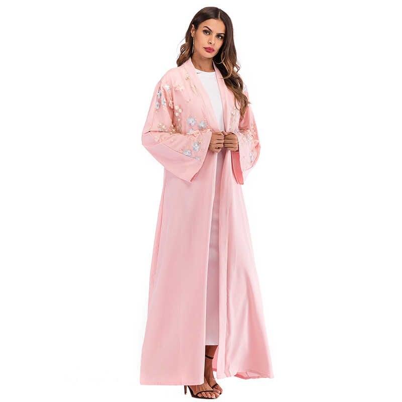 6b209e80e ... Plus Size Abaya Dubai Floral Mesh Kimono Long Mujer 2018 Kawaii Boho  Muslim Hijab Cardigan Robe ...