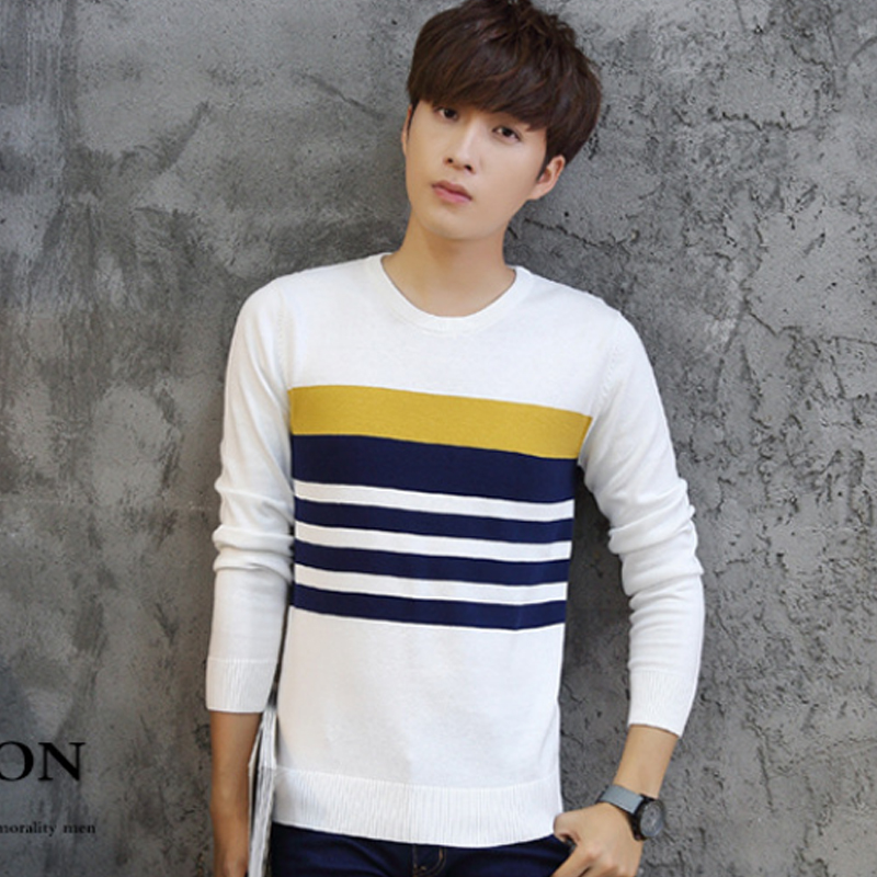 2018 Winter White Striped Sweaters Mens Brand Male Sweater Cotton Casual O-Neck Slim Fit Knitted Sweaters And Pullovers 3XL 50