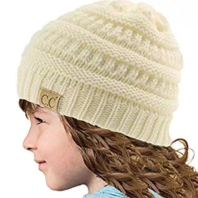 8 colores invierno Niño Niñas Niños punto skullies gorros para niños ...