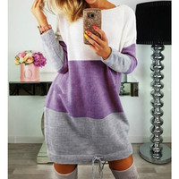 Stripe Patchwork Girls O Neck Hoodies Mini Dress 2018 Women Spring Autumn Casual Long Sleeve Sweater