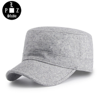 PLZ Winter Military Cap Wool Blended Flat Cap For Men Unisex Adjustable Solid Casual Outdoor Warm Military Hat Women