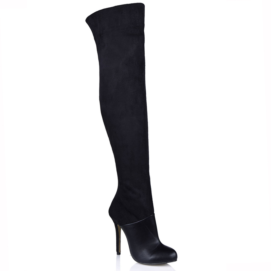 2016 Winter Black Suede Sexy Dress Party Shoes Women Stiletto High Heels Ladies Over-the-Knee Boots Zapatos Mujer 0640CBT-Z3
