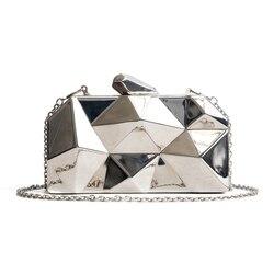 Bolsas femininas de metal alta qualidade hexágono embraiagens moda geométrica mini festa preto noite bolsa prata sacos caixa ouro embreagem