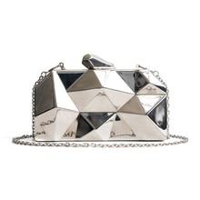 Bolso hexagonal de Metal de alta calidad para mujer, Mini Cartera de noche Negra con formas geométricas, bolso de mano plateado con caja dorada