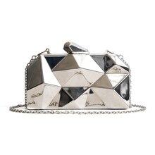 Mulheres Embreagens Moda Geométrica do Hexágono De Metal Bolsas de Alta Qualidade Mini Caixa De Embreagem Sacos de Festa Bolsa De Noite Preto Prata Ouro