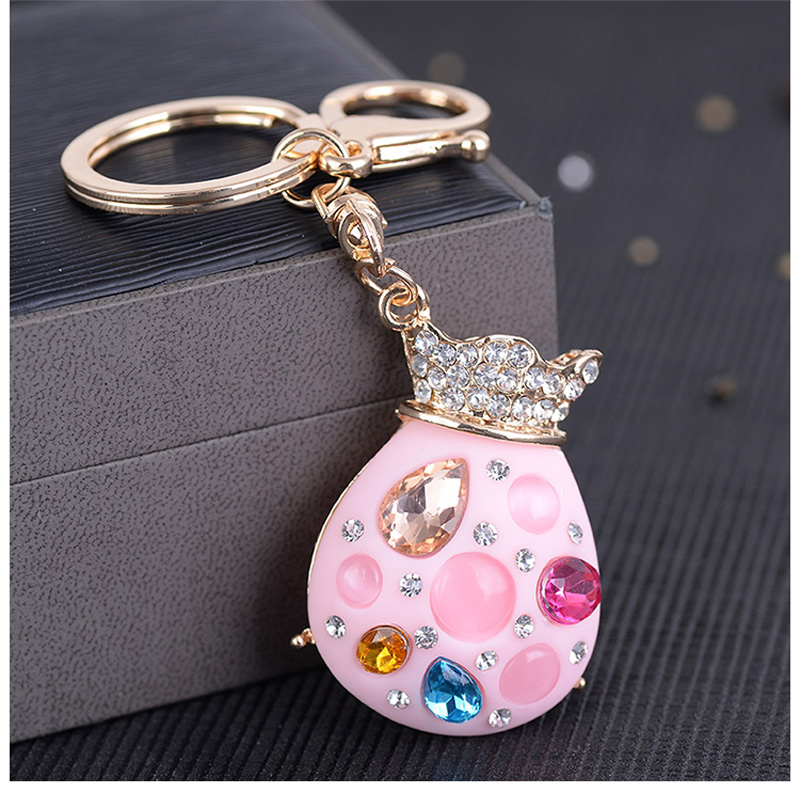 Felyskep Metal Rhinestone Lucky Bag Key Ring Crystal Women Key Holder Romantic Colorful For Women Key Chains Acessory A958CH