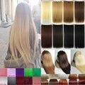 Природных Прямой Зажим Для Волос в на Наращивание Волос 26 дюймов 66 см Длина супер длинные светлые волосы Черный Темно-Русый парики