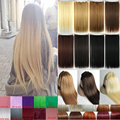Cabelo Natural Em Linha Reta Clipe dentro em Extensões de Cabelo de 26 polegada 66 cm de Comprimento super louro longo cabelo Preto Escuro Castanho claro peruca