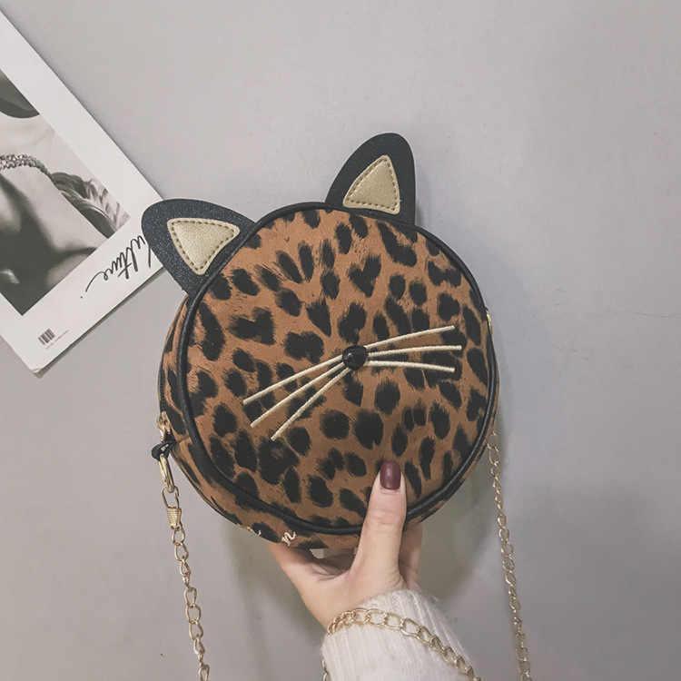 Thời trang Nữ Họa Tiết Da Báo Tròn Nhỏ Túi Túi Mèo Tai Đeo Túi Nữ Nhà Thiết Kế Dây Đeo Vai Bé Gái