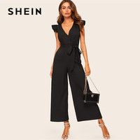 SHEIN Elegant Surplice Wrap Belted Wide Leg Black Jumpsuit Women Sexy Deep V Neck Summer Jumpsuit Skinny Ruffle Trim Jumpsuit