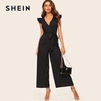 SHEIN Elegant Surplice Wrap Belted Wide Leg Black Jumpsuit Women Sexy Deep V Neck Summer Jumpsuit Skinny Ruffle Trim Jumpsuit