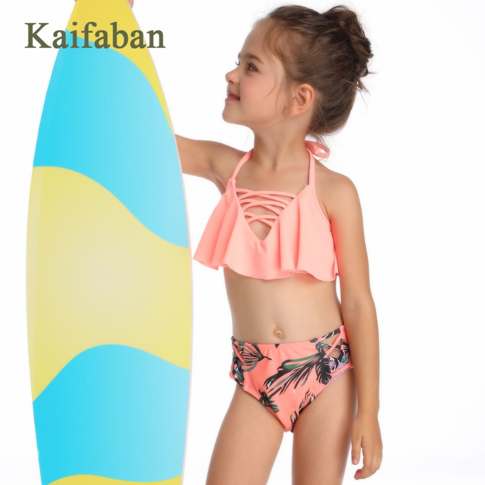 Girls Tropical Plants Print Cross Bandage Hollow Out Split Bikini Swimsuit Swimwear Two Pieces Strap Plavky Tankini Bathing Suit(China)