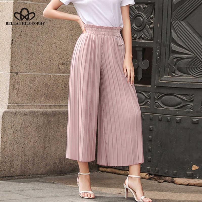 Bella Filosofie 2019 broek vrouwen lente zomer linnen geplooide elastische taille wijde pijpen broek herfst hoge taille wijde pijpen broek
