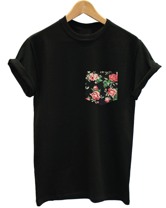 red vintage rose floral print pocket t shirt men & women short funny tee US plus size XS-3XL