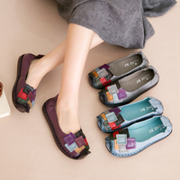 AARDIMI Vintage Cow Leather Women Flats Shoes Handmade Casual Flat Shoes Woman 4 Colors Slip On