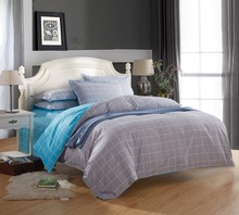 High Grade Twill Series Plaid Design Bedding Cover Set 100% pure Cotton King Queen Size 4 piece/set For 5/6/6.6Feet Bed