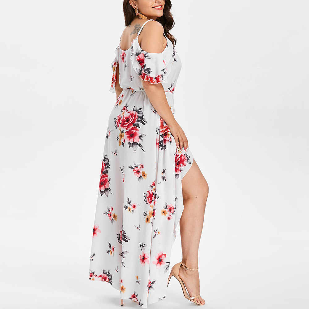 Fashsiualy summer large size Women\'s Hawaiian dress Plus Size Women Casual  Short Sleeve Cold Shoulder Boho Flower Long Dress
