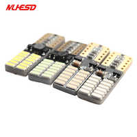100X Car LED T10 194 W5W Canbus 24 SMD 4014 No Error T10 Led Light Bulb Parking Auto Lamps Reading Lights 12V white yellow blue