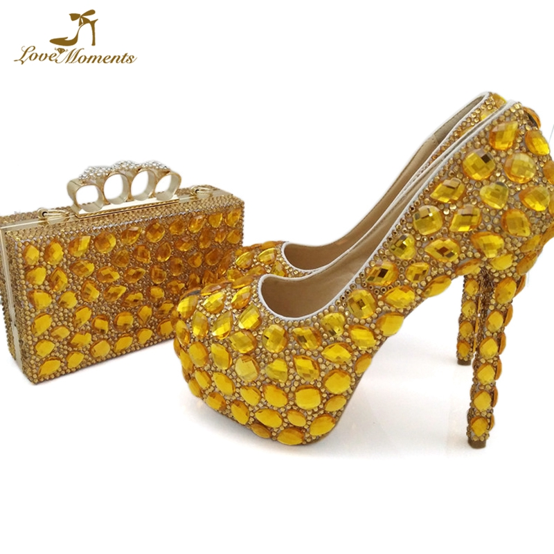 Glamorous Handmade Gold Rhinestone Annivesary Ceremony Shoes with Clutch Mother Anniversary Ceremony Shoes with Handbag local focal fashionable handmade with delicate handbag