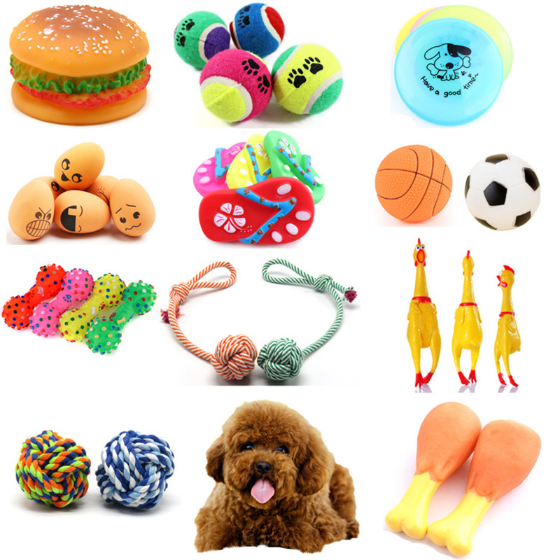 Fashion Rubber Squeak Toys for Dog Screaming Chicken Chew Bone Slipper Squeaky Ball Dog Toys Tooth Grinding & Training Toy