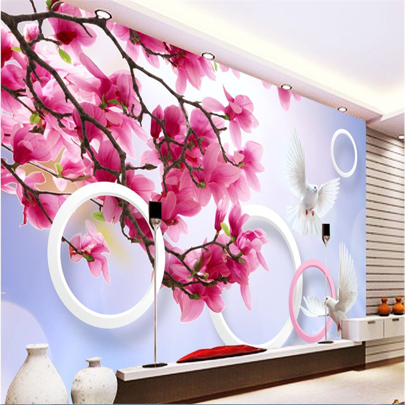 Beibehang Customize Any Size Fresco Wallpapers HD Flowers Flying Pigeons 3D Living Room Bedroom TV Walls Papel De Parede 3d