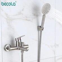 BECOLA 304 Edelstahl Bad Becken Badewanne Dusche Mixer Wasserhahn Mit Griff Dusche Wasserhahn Badewanne Wasserhahn Set