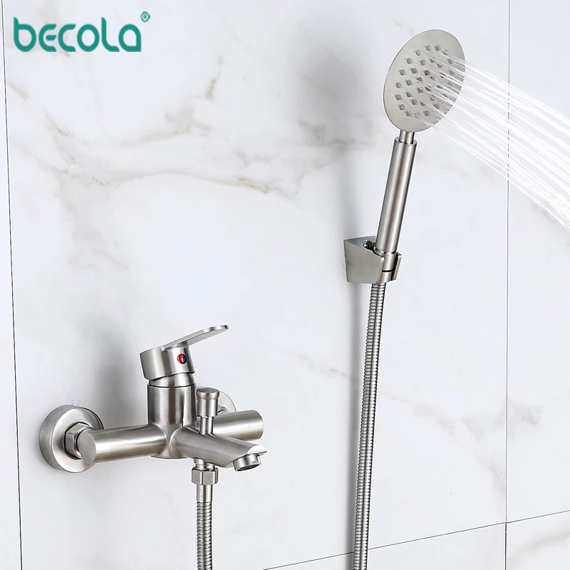 BECOLA 304 stainless steel bathroom Basin bathtub shower Mixer faucet With Handle Shower Tap Bathtub Faucet Set