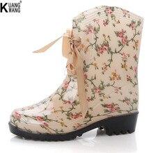 KUANGWANG мода короткие сапоги ботинки женщин Высокого Качества женская мода non-slip сапоги высококачественные резиновые сапоги