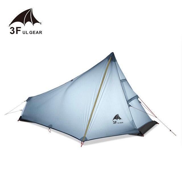 3F UL הילוך Oudoor Ultralight קמפינג אוהל 1 אדם מקצועי 15D ניילון סיליקון Rodless קל אוהל קמפינג ציוד