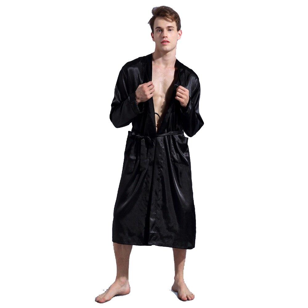 100% Wahr Chinesische Männer Weinrot Satin Robe Mit Gürtel Kimono Bademantel Kleid Nightgown Sleepwear Zu Hause Freizeit Pyjamas Sml Xl Xxl D202-10 Jade Weiß