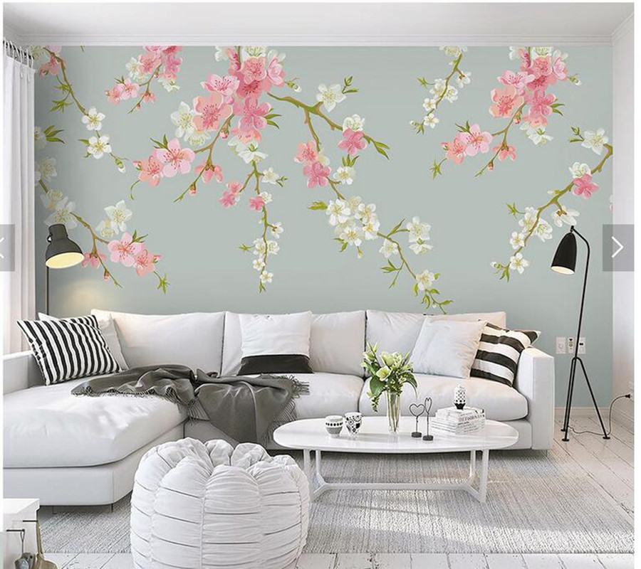 living pink decor background tv sofa natural flowers wall watercolor mural custom wallpapers