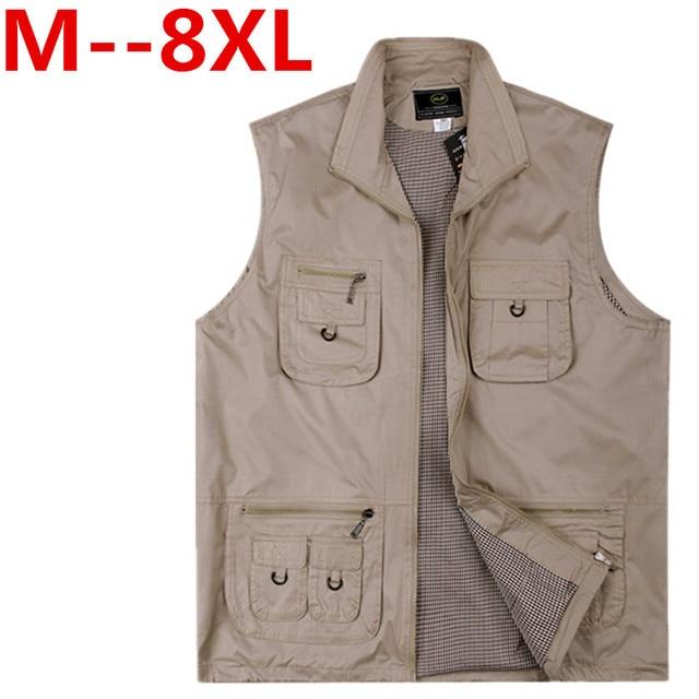 Plus size 9XL 8XL 7XL 6XL 5XL 4XL Men's CasualVests Breathable Vest Green Vest for Multi-pocket Photographer Vest