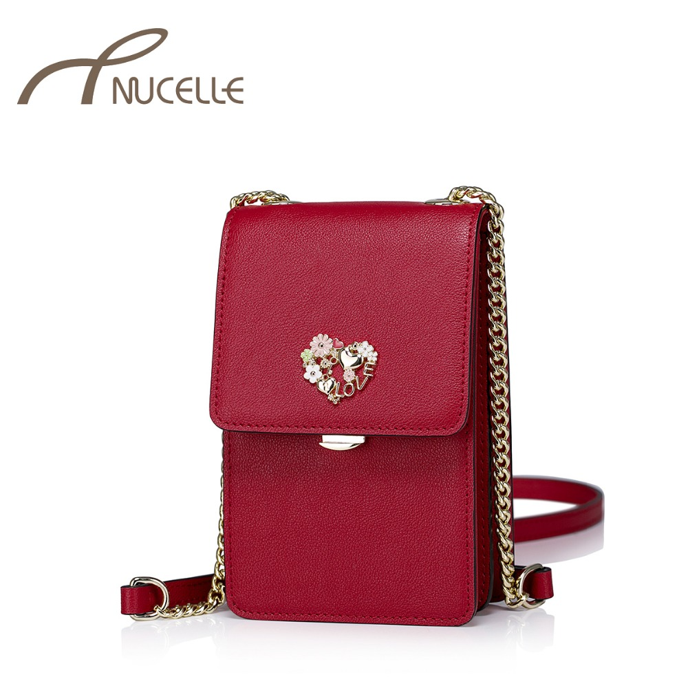 NUCELLE Women Split Leather Messenger Bags Ladies Fashion Chain Mini Cross-body Bags Female Flap Shoulder Bags For Phone NZ5902
