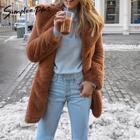Simplee Plus Plus size elegant shaggy women brown faux fur coat Autumn winter warm teddy coat Female oversize party outwear