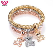 3Pcs Cute Bear Crystal Charms Bracelets For Women Gold Color Mix Colors Pendant Popcorn Animal Fashion Jewelry 2019