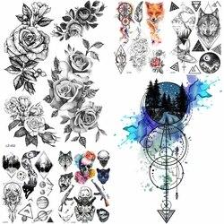 Schwarz Diamant Geometrie Eule Temporäre Tattoo Aufkleber Frauen Gefälschte Henna Wasserdicht Tattoo Aufkleber 21*15CM Kristall Körper Kunst ARm Tatoo