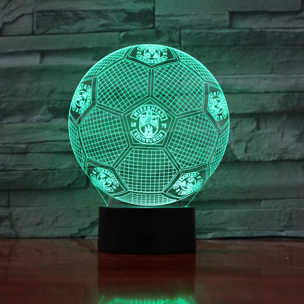 USB Table desk Lamp 3D Light LED Football Globe 7 color changing touch switch light Home Decoration GX847 image