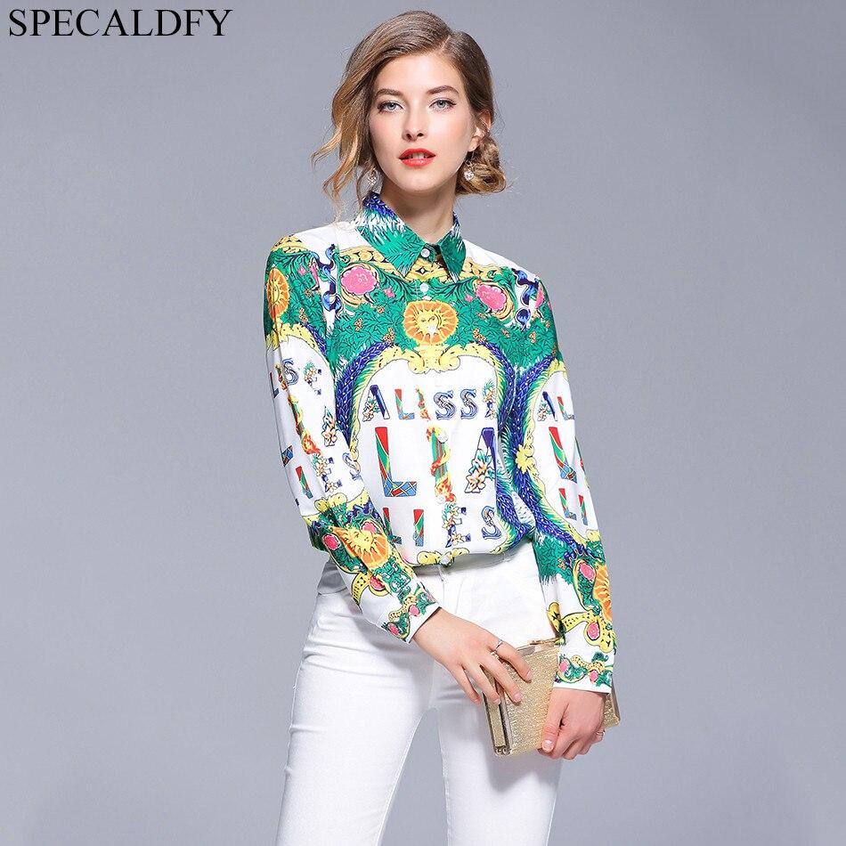 96067be7bfa 2018 осенние Рубашки женские блузки с длинным рукавом рубашка Подиум  дизайнерские топы для женщин Топ бренд