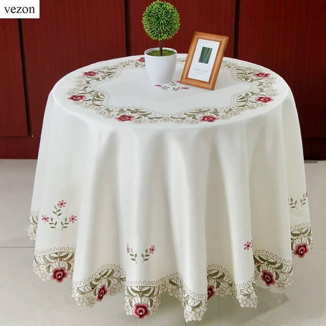 Vezon Sale Elegant Round Floral Embroidery Tablecloths Kitchen